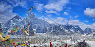 View of Mount Everest and Nuptse with buddhist prayer flags fro
