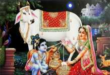 krishna feeding cow