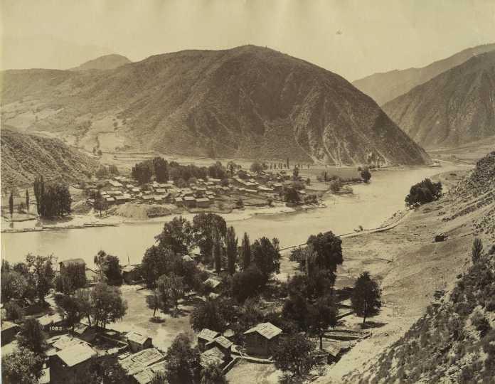 Village On The Bank of river in kashmir