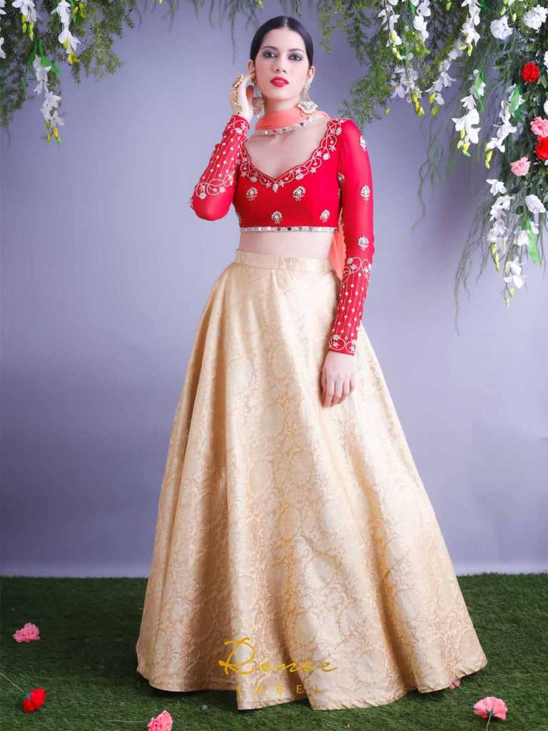 rose-red-blouse-with-gold-skirt-and-dupatta