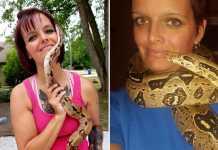 women python around neck